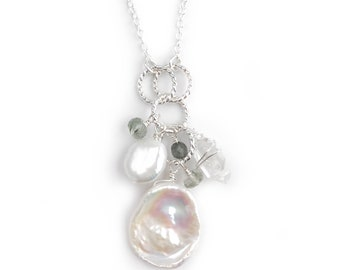 Pearl Cluster Pendant - Pearl and Gemstone Necklace - Petal Pearl Cluster - Natural Pearl Jewelry - Herkimer Diamond and Pearl Necklace
