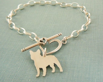 French Bulldog Dog Chain Bracelet, Frenchie Sterling Silver Personalize Pendant, Breed Silhouette Charm, Rescue Shelter, Mothers Day Gift