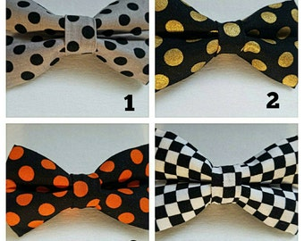 Polka dots/ checkered hair bow/ boys bow tie/ dog bow tie/ pet bandana