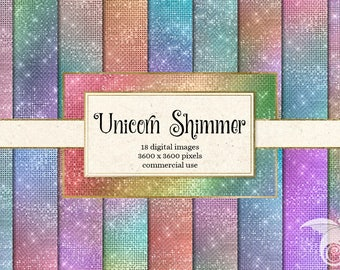 Unicorn Shimmer Digital Paper, rainbow pastel glitter sparkle textures, printable scrapbook paper, planners, instant download commercial use