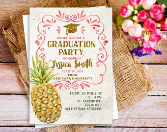 graduation pineapple, Luau graduation pineapple invite, summer graduation invite, graduation celebration rustic Hawaiian, graduation luau