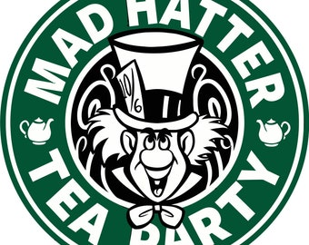 Mad Hatter Tea Party Starbucks SVG