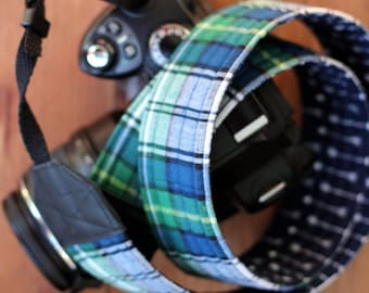 Mens camera strap, camera neck strap, dslr camera strap, navy blue arrow, fathers day gift, blue green plaid nautical strap, reversible