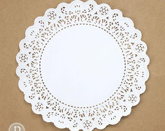 """12"""" Lace White Round Paper Doilies"""
