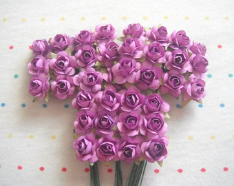 Lavender Paper Millinery Flowers, Small Sized Roses (36)