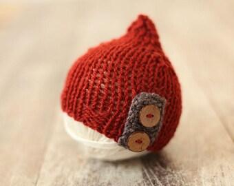 Newborn hat, Wool hat, Red hat, Photo prop