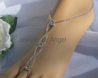 Silver Rhinestone Barefoot Sandal - Foot Jewelry