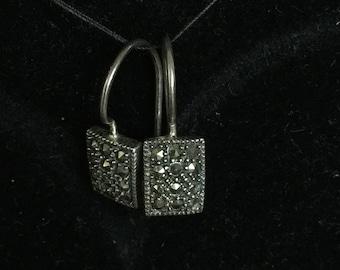 Vintage Sterling silver rectangular earrings