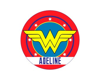 Personalized WONDER WOMAN Plate, Melamine Plate, Custom Plate