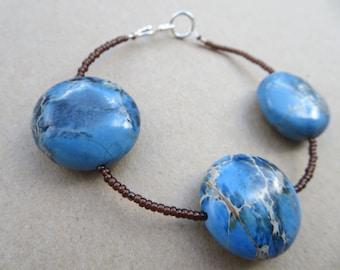 Jasper Gemstone Bracelet, Designer Bracelet, Jasper Bespoke Bracelet, Gemstone Bracelet, Handmade Blue Jasper Bracelet, U.K.