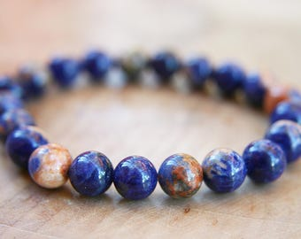 Orange Sodalite Natural Gemstone Beaded Bracelet- 8mm Stretchy Bracelet
