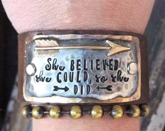 She believed she could so she did Bracelet. Mixed Metal Leather Cuff Bracelet. Arrow Charm.