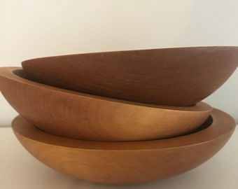 Vintage baribocraft, baribomaid, wood bowls, small wooden bowls, wooden bowls, wood salad bowls, bowl set