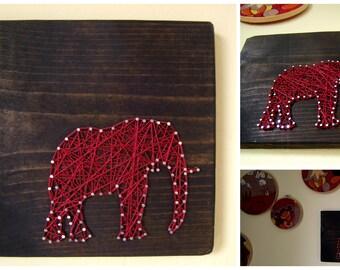 Modern String Art Wooden Tablet - Elephant SIlhouette