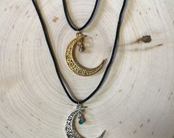 Birthstone Crescent Moon  Necklace