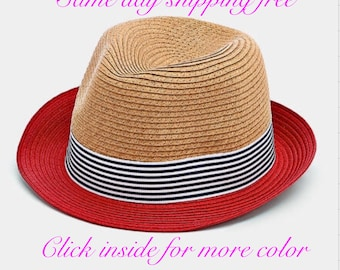STRIPED soft bamboo  COLOR Blok  straw Fedora  Hat