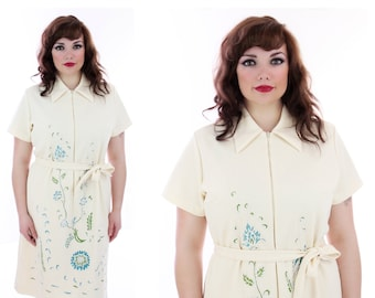 60s Beaded Dress Mod Retro Sixties Floral Mad Men Spring Flowers Cocktail Party L XL Plus Size