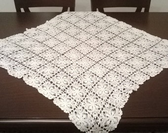 Set of 3 White Crochet Doilies Tablecloths. Free Shipping