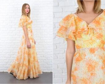 Vintage 70s Yellow Orange Maxi Dress Boho Hippie Cape Slv Floral Print XS 5637