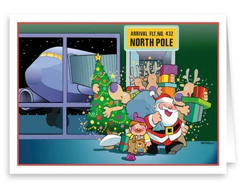 North Pole Arrival Christmas Card - 18 Cards & Envelopes - Aviation Theme Holiday Card - 80028