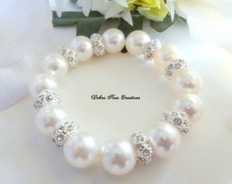 Chunky Pearl Bridal Bracelet Pearl&Crystal Wedding Bracelet Pearl Bride Bracelet for Bridesmaid Gift for Bride Wedding Jewelry Set Formal