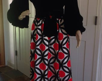 Vintage 1960's Black Velvet with Gold and Red Art Deco print evening/Fun Dress by Victor Costa .