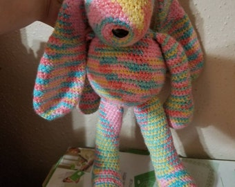 Colorful, crochet, stuffed bunny rabbit. Hand made. For baby, toddler or kids.