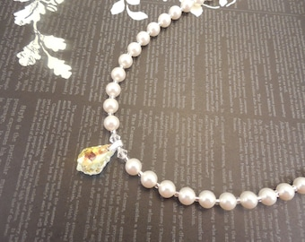Very Simple and Elegant, 6mm White Swarovski Pearl Necklace with Swarovski Crystal Pendant