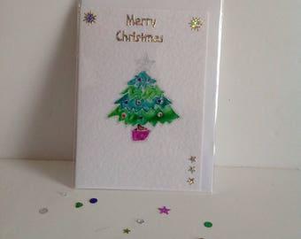 Christmas Tree Card, Christmas Card,Hand Drawn Glass painted Card, handmade card, handpainted card, holiday Card, blank Card, Uk Seller