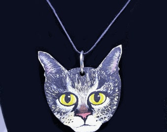 Hand Painted Cat Necklace