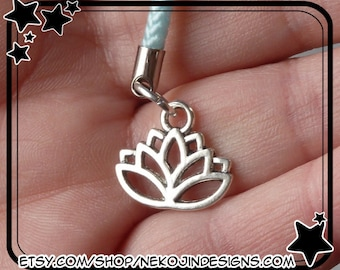 Silver Lotus Cell Phone Charm - flower horticulture blossom Buddhism Buddha Buddhist meditation cellphone lanyard lariat kawaii dust plug