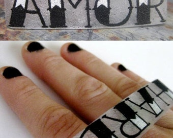 tattoo your knuckles big ring two finger ring custom unique