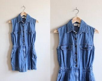 Vintage 1990s Blue Jean Sleeveless Denim Romper