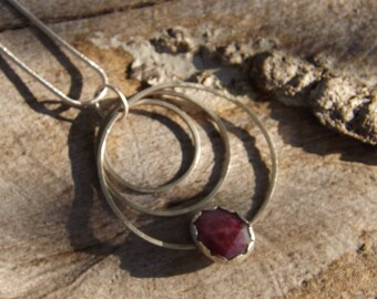 Geometric Sterling Silver Pendant Featuring Rose Cut Sapphire