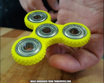 Knurled Triple Bearing Fidget Spinner  [3D Printed]