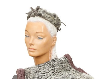 ON SALE 1940s Persian Lamb Fur Muff Hat Set in Grey