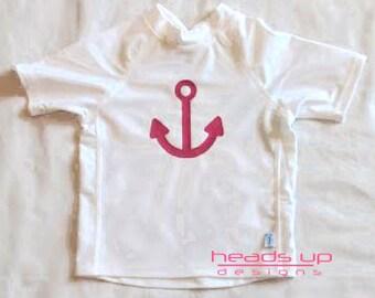 Toddler Girl Anchor Rashguard - Baby Girl Rash Guard Anchor - Swim Shirt Toddler Girl - Sun Protection Shirt Sailor - Swim Sui Shirt Anchor