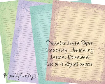 Printable Journal Pages, Lined Paper, Printable Stationery, Watercolor Splash, Letter Size. Inked Up Paper, Instant Download