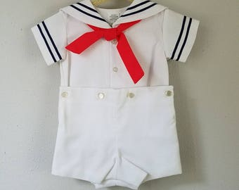Vintage Boys Classic White Pique Sailor suit with red tie and navy blue trim- Size 12 months-  new, never worn