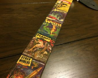 Sci-fi guitar strap handmade // Other Worlds vintage science fiction magazine covers and others // retro futuristic // cool guitar straps