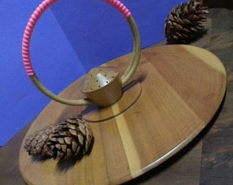 Vintage Wooden platter with Round Handle and Toothpick Cente