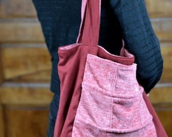 "Reversible Tote ""Morello cherry"""