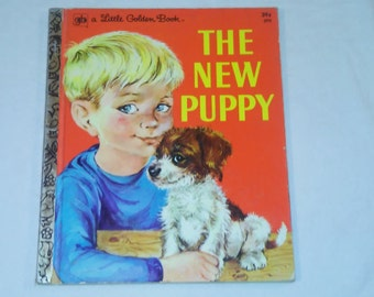 """Vintage Little Golden Book, """"The New Puppy"""" by Kathleen N. Daly, Pictures by Lilian Obligado, 1973."""
