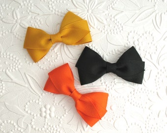 "Halloween Autumn Hair Bows ~ Fall Hair Bows ~ Orange, Mustard & Black Baby Toddler 3"" Simple Flat Style Hair Bow Clips"