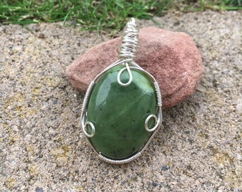 Jade Pendant Wrapped in Silver Filled Wire