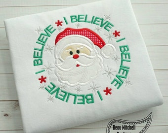 I Believe Santa Circle - Appliqued and Embroidered