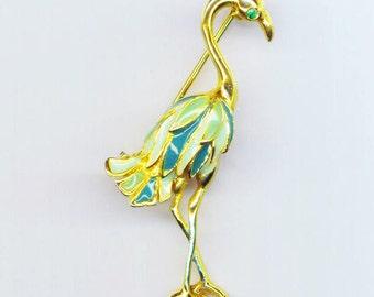 Vintage Ostrich Brooch . Green Enameled Bird . Rhinestone Eye . Exotic Bird  Pin . Tropical -  Green Bird by enchantedbeas on Etsy
