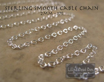 Silver Cable Chain, Thin .925 Sterling Silver 2mm Smooth Cable Chain, By The Foot, Everyday Necklace Chain, Jewelry Supplies (17s)
