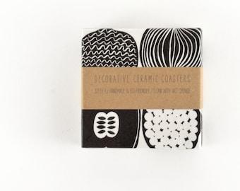 Ceramic Tile Coasters Marimekko Kompotti Black and White or Color Version