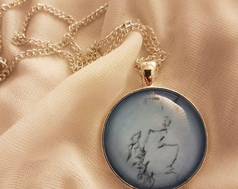 Blue Scotland Charcoal Line Drawing | 30mm Glass Pendant Necklace | Handmade in Scotland